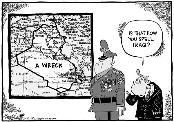 Bob Englehart - The Hartford Courant - Iraq War - English - Bush, Iraq, war, General, wreck, soldiers, fight, spell, map, Middle East, mideast, President Bush, general