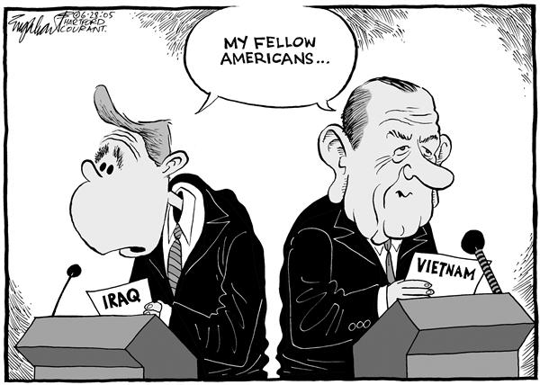 Bob Englehart - The Hartford Courant - Bush and Johnson - English - Iraq, Vietnam, war, LBJ, George W. Bush, president, my, fellow, Americans, speech, Lyndon B. Johnson, conflict