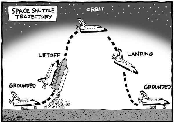 Bob Englehart - The Hartford Courant - Space Shuttle - English - space, shuttle, program, NASA, ground, takeoff, moon, land, grounded, liftoff, orbit, landing, trajectory