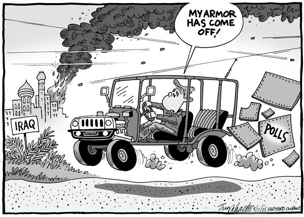 Bob Englehart - The Hartford Courant - Bush Popularity - English - armor, Bush, popularity, war, polls, President, President, armor, Iraq, explosion, Middle East, mideast, terror, terrorism, conflict, jeep