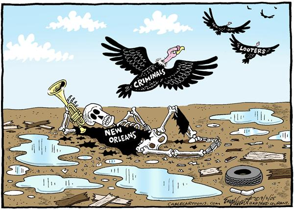 Bob Englehart - The Hartford Courant - New Orleans Death Color - English - New Orleans, dead, flood, hurricane, vulture, bones, skeleton, criminals, looters, theft, stealing, death
