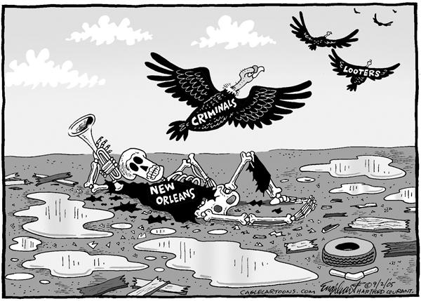 Bob Englehart - The Hartford Courant - New Orleans Death BW - English - New Orleans, dead, flood, hurricane, vulture, bones, skeleton, criminals, looters, theft, stealing, death