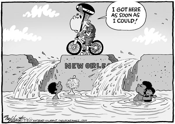 Bob Englehart - The Hartford Courant - Bush Arrives - English - hurricane katrina new orleans