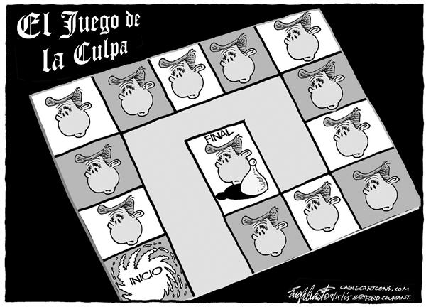 Bob Englehart - The Hartford Courant - El juego de la culpa - English - Huracan, huracanes, desastre, Katrina, New Orleans, presidente, Bush, gobierno, federal