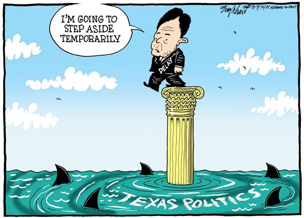 Bob Englehart - The Hartford Courant - Without Delay - English - Ronnie, Earl, Tom, Delay, house, majority, leader, Texas, step, aside, temporarily, shark, without, Texas, politics