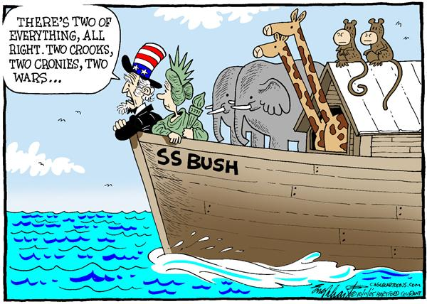 Bob Englehart - The Hartford Courant - Two Of Everything - English - polls, presidents, popularity, Noahs, ark, SS Bush, two, crooks, cronies, wars, Uncle Sam, Statue of Liberty
