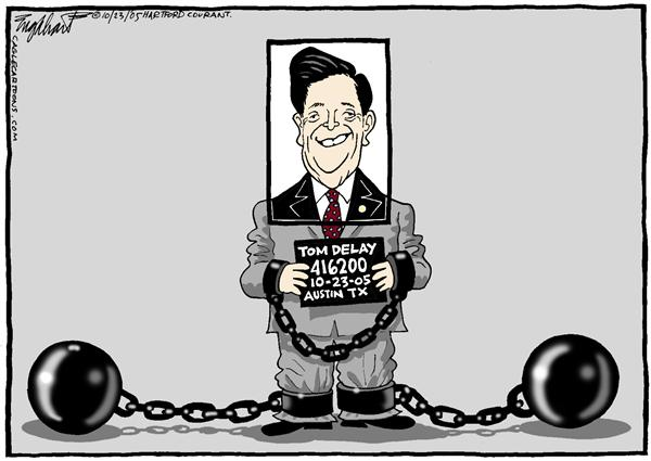 Bob Englehart - The Hartford Courant - Smilin Tom - English - Tom, Delay, congress, crime, indictment, smiling, smilin, mug, shot, handcuffs, chain and ball, Austin, Texas, TX, arrested
