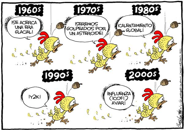 Bob Englehart - The Hartford Courant - El Ultimo Capricho del Miedo / COLOR - English - Influenza, Gripe, aviar, aviaria, aves, gallina, pollo, pandemia, calentamiento, global, Y2k