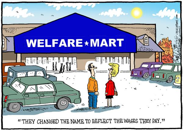 Bob Englehart - The Hartford Courant - What Mart - English - Walmart, retailers, shopping, welfare, reflect, wages, pay, salary, what, mart