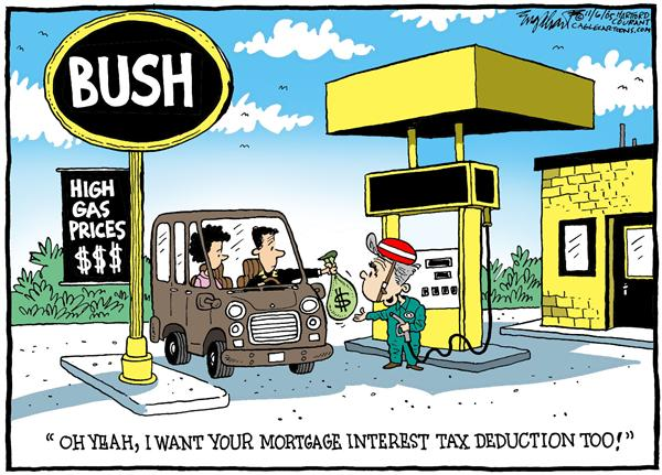 Bob Englehart - The Hartford Courant - COLOR Fill It Up With Bullsh-t - English - tax, reform, mortgage, interest, deduction, President, Bush, high, gas, prices, station, gasoline, money, bags