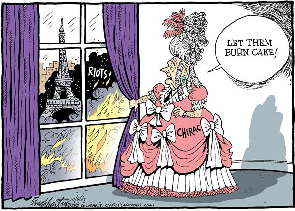 Bob Englehart - The Hartford Courant - Marie Chirac COLOR - English - France, French, riots, Chirac, Antoinette, Jacques, Marie, burn, eat, cake, Paris, Eiffel Tower, fire