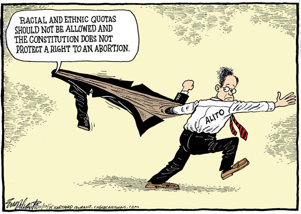 Bob Englehart - The Hartford Courant - That Was Then This Is Now COLOR - English - SCOTUS, supreme, court, Alito, hearings, abortion, roe v wade, racial, ethnic, quotas, allowed, constitution, protect, right, stuck, caught