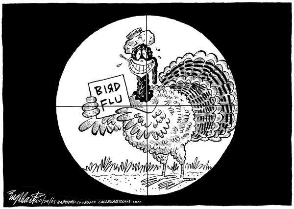 Bob Englehart - The Hartford Courant - Happy Thanksgiving - English - turkey, bird, flu, day, Thanksgiving, target, Happy