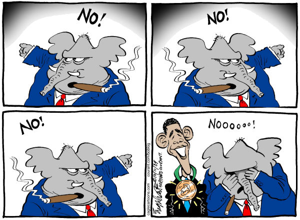 Bob Englehart - The Hartford Courant - Obamas Peace Prize COLOR - English - nobel,prize,peace,Obama,GOP,Republicans