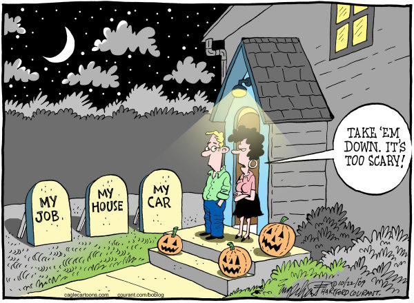 Bob Englehart - The Hartford Courant - Halloween COLOR - English - halloween, recession, jobs, economy, foreclosure