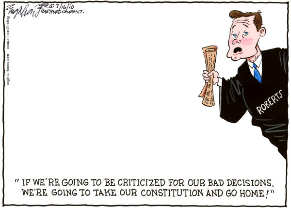 Chief Justice John Roberts Color © Bob Englehart,The Hartford Courant,scotus,supreme court of the united states, the supremes, supreme court
