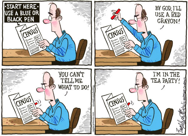 Census COLOR © Bob Englehart,The Hartford Courant,2010, census, tea, party