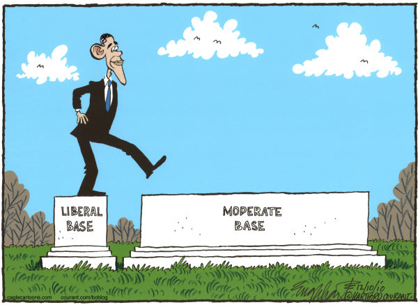 Bob Englehart - The Hartford Courant - Obama Steps to the Middle - English - obama, middle, moderates, taxes, stepping