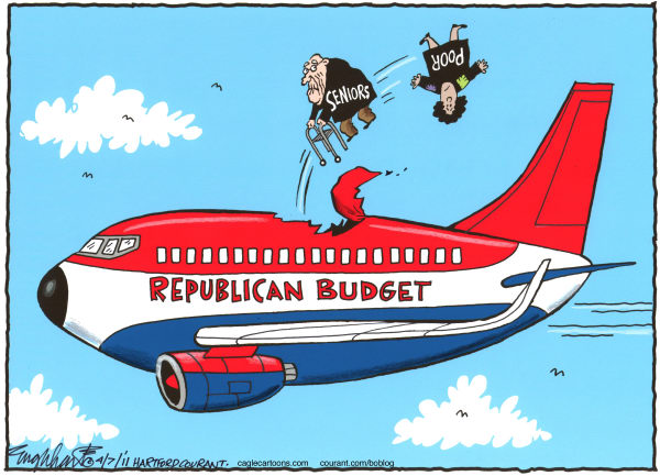 Republican Budget Color © Bob Englehart,The Hartford Courant,gop,grand old party,federal budget,southwest airlines,air safety