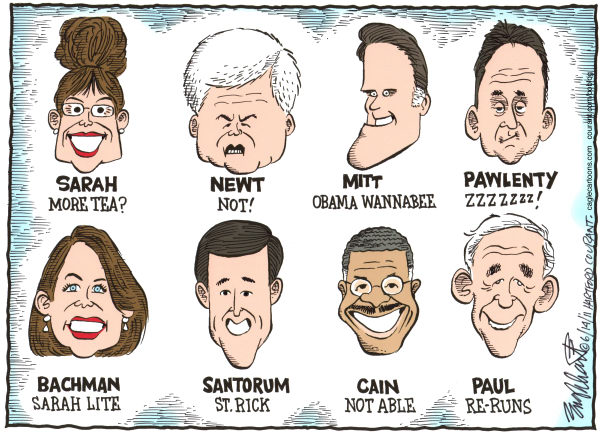 Republican Candidates © Bob Englehart,The Hartford Courant,gop,presidential election,2012 presidential, GOP, Newt Gingrich, Mitt Romney, Palin, Ron Paul, Pawlenty, Cain Bachman election 2011,grand old party, santorum