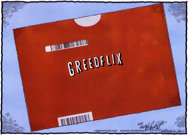 Netflix © Bob Englehart,The Hartford Courant,movies,dvd rental,dvd,blockbuster,rent a movie,streaming video,video