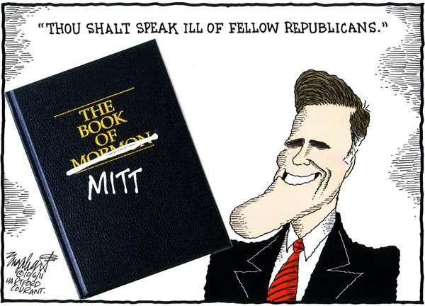 Mitt Romney COLOR © Bob Englehart,The Hartford Courant,2012 presidential race,gop,campaign,conservative,book of mormon
