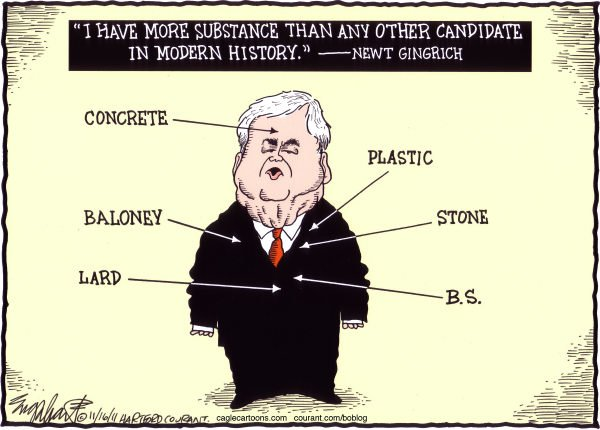 Newt Gingrich COLOR © Bob Englehart,The Hartford Courant,newt,former speaker of the house,candidate,not-mitt,anyone but mitt, Gingrich