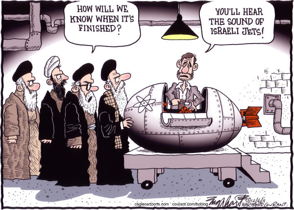 Bob Englehart - The Hartford Courant - Iran Nuclear Capability COLOR - English - a bomb,h bomb,nuclear weapons,atomic energy, iaec,iran,ayatollah,imam