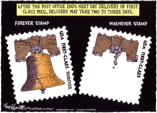 USPS Color © Bob Englehart,The Hartford Courant,post office,saturday delivery,postmaster general,mailman