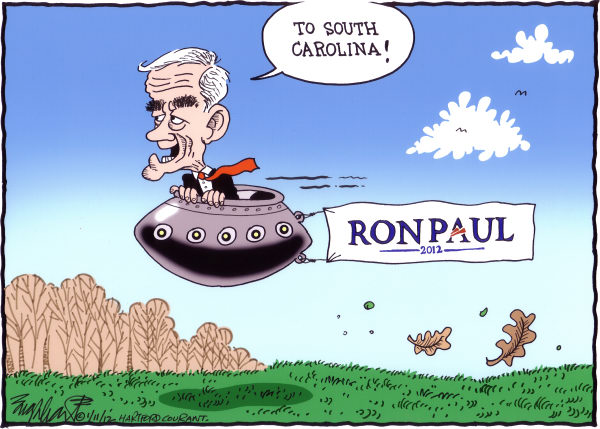 Bob Englehart - The Hartford Courant - Ron Paul COLOR - English - new hampshire primary,south carolina