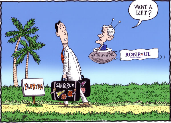Bob Englehart - The Hartford Courant - Santorum Heads To Fla COLOR - English - rick santorum,ron paul,florida primary