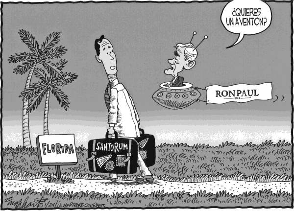 Bob Englehart - The Hartford Courant - Santorum se dirige a Florida - Spanish - Rick, Santorum, Ron, Paul, Florida, primarias