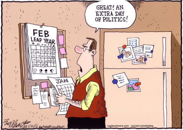 Political Leap Year Color © Bob Englehart,The Hartford Courant,Leap year, politics,campaign 2012,calendar