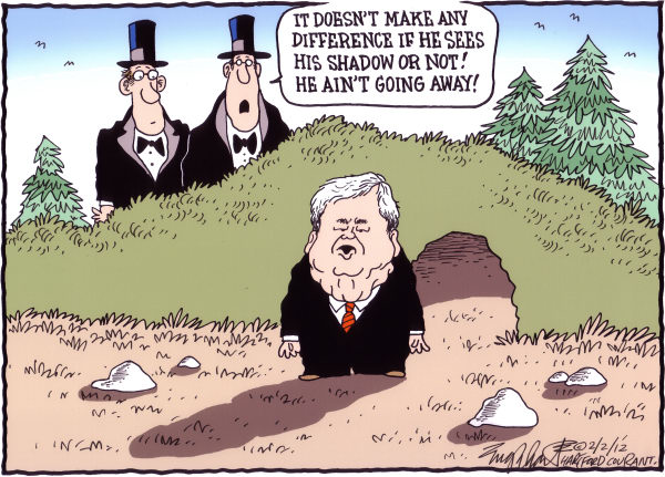 Bob Englehart - The Hartford Courant - Groundhog Day COLOR - English - newt gingrich,groundhog day