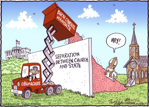 Bob Englehart - The Hartford Courant - Obamacare Mistake - English - catholic church,obamacare,separation between church and state,church, religion