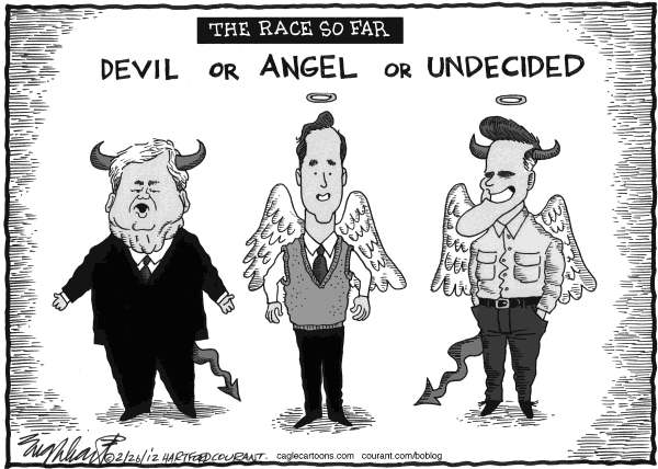Bob Englehart - The Hartford Courant - The Race So Far - English - Gingrich, Santorum, Romney, GOP, debates, campaign, devil, angel