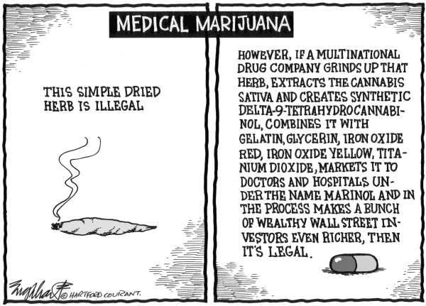 Bob Englehart - The Hartford Courant - Medical Marijuana - English - pot, drugs, marijuana, weed, dope, medical, health, legalize, crime, courts, laws