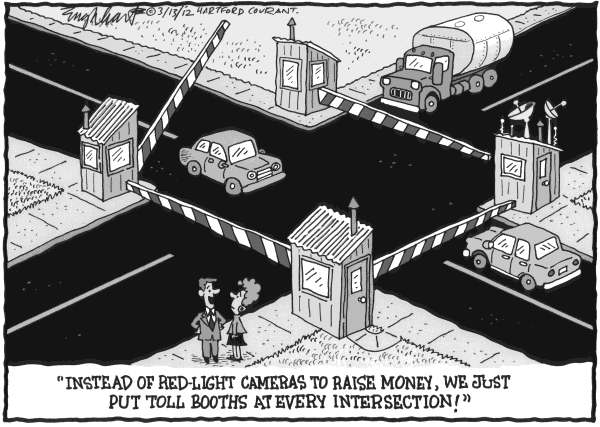 Bob Englehart - The Hartford Courant - Red - English - traffic tickets, running a red light, cars, driving, cameras