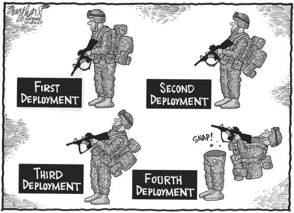 Bob Englehart - The Hartford Courant - Deployments - English - Military, deployments, war, mental health, snap, Iraq, Bales, killings, ptsd, afghanistan