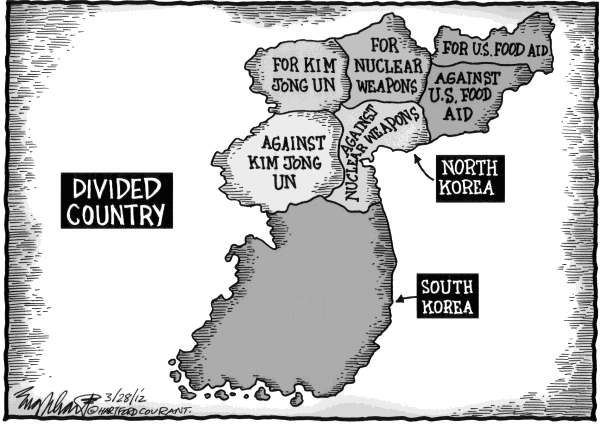 Bob Englehart - The Hartford Courant - Korea - English - north korea, south korea, missile test, divided