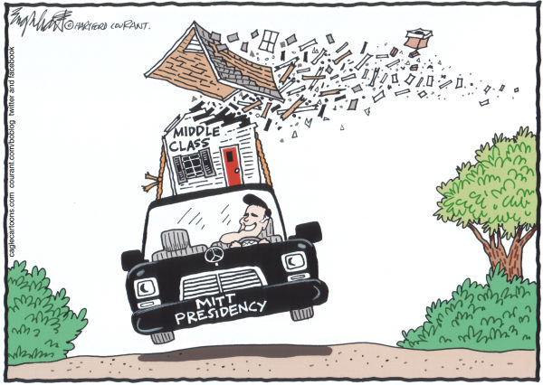 Mitt Takes Us For A Ride © Bob Englehart,The Hartford Courant,dog on top of car, mitt romney