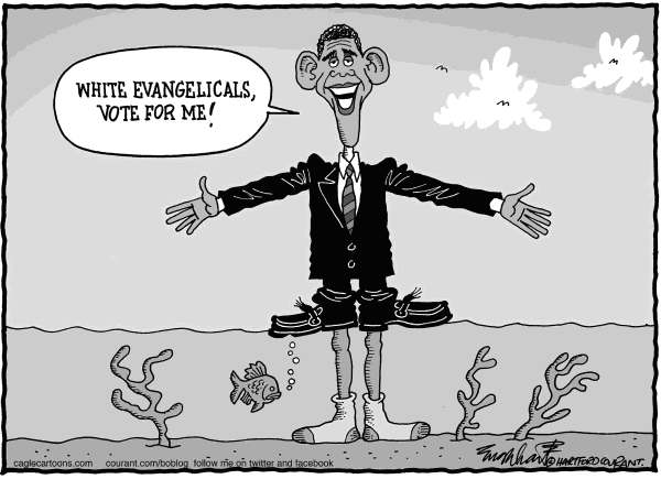 Bob Englehart - The Hartford Courant - Obama And The Evangelicals - English -