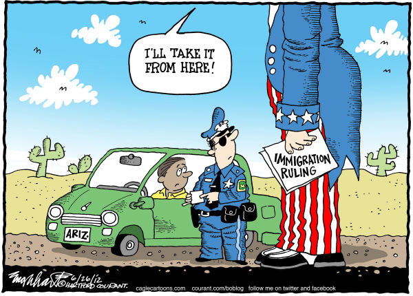 Bob Englehart - The Hartford Courant - Immigration Ruling - English -