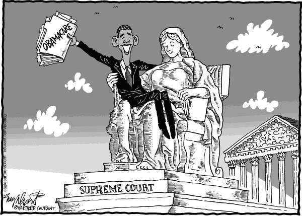 Bob Englehart - The Hartford Courant - Supreme Court Rules On Obamacare - English - health care,affordable care act,health insurance reform