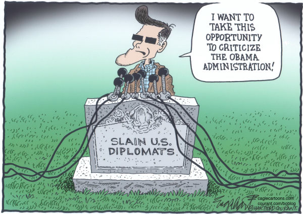 Bob Englehart - The Hartford Courant - Mitt Comments - English - libya diplomat,libya,