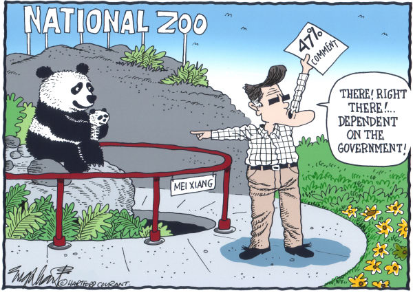 Bob Englehart - The Hartford Courant - Romney 47 Victims - English - victims,welfare,social security,food stamps,panda,national zoo,mei xiang