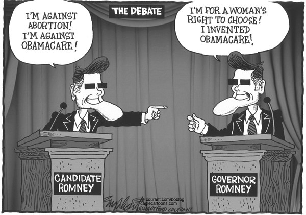Bob Englehart - The Hartford Courant - The Debate - English - Mitt Romney,debate,Election 2012,flip-flop,abortion,obamacare