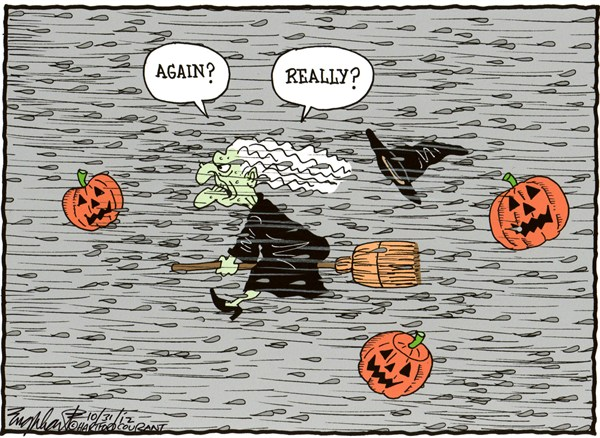 Bob Englehart - The Hartford Courant - Hurricane Sandy - English - halloween,hurricane,east coast, northeast