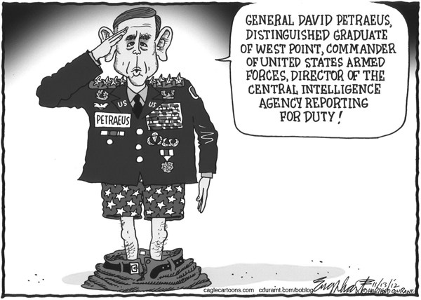 Bob Englehart - The Hartford Courant - General David Petraeus - English - sex scandal, Paula broadwell,cia