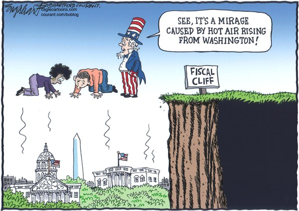 Bob Englehart - The Hartford Courant - Fantasy Land COLOR - English - fiscal cliff